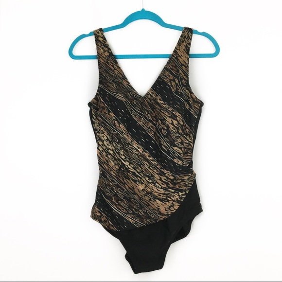 Jaclyn Smith Other - Jaclyn Smith Wrap Front Brown Black Bathing Suit
